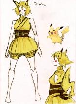 Linda Seppälän luonnostelma Pikachun asusta